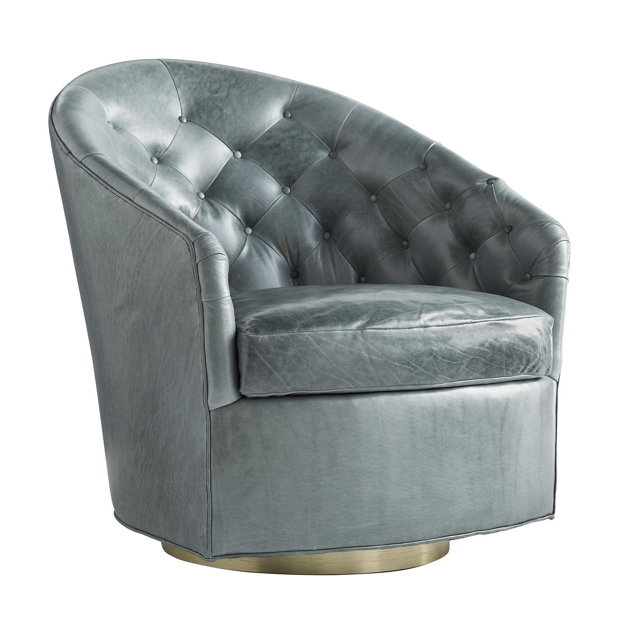 Capri Chair Juniper Leather Champagne Swivel