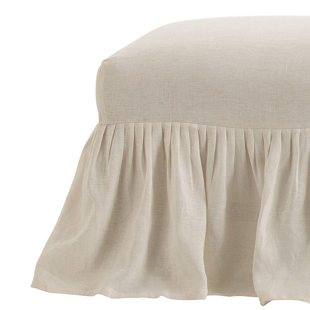 Avebury Off-White Linen Bench Slipcover Only