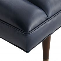 Christophe Bench Indigo Leather Dark Walnut