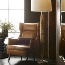 Budelli Wing Chair Cognac Leather Dark Walnut