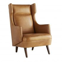 Budelli Wing Chair Cognac Leather Dark Walnut