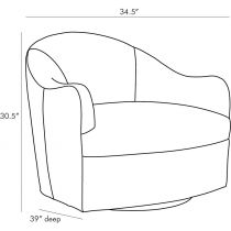 Delfino Chair Anchor Grey Leather Swivel