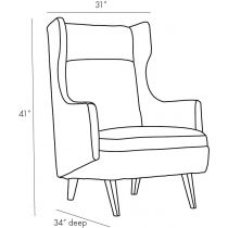 Budelli Wing Chair, Forest Velvet