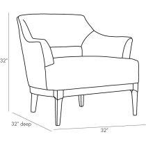 Laurette Chair Indigo Leather Dark Walnut