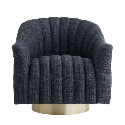 Springsteen Chair Indigo Tweed Champagne Swivel