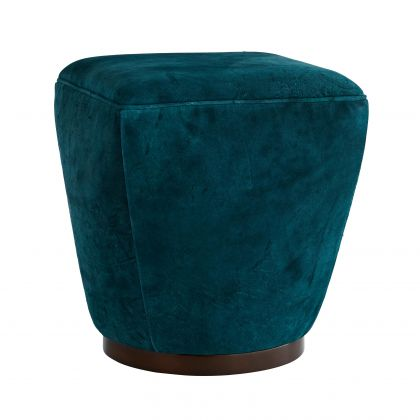 Theo Ottoman Peacock Distressed Leather Dark Walnu