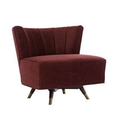 Marion Chair Bordeaux Velvet Dark Walnut
