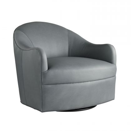 Delfino Chair Anchor Grey Leather Swivel
