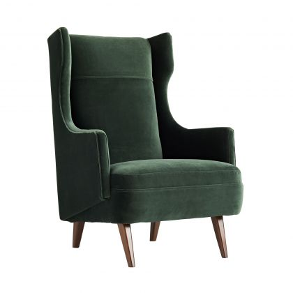 Budelli Wing Chair, Forest Velvet