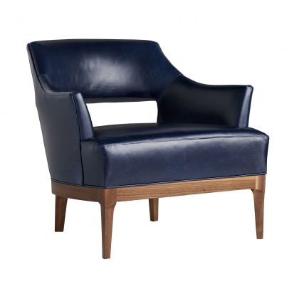 Laurette Chair Indigo Leather Dark Walnut