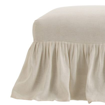 Avebury Off-White Linen Bench Slipcover Only