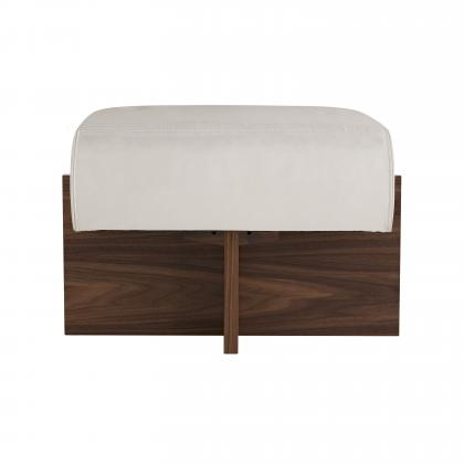 Tuck Ottoman Ivory Leather